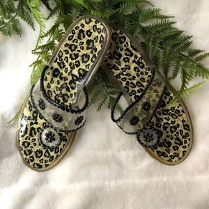 Jack Rogers Clear Leopard Print Jelly Sandals